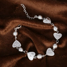 Silver Plated Heart Love Bead Charm Bracelet Chain Present GF For Her Gift Bag