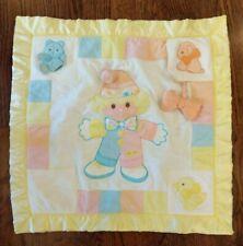Cozy Bows Clown Baby Quilt Blanket Sensory Vintage 1987 Satin Edge