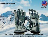 -20 ℉ Winter Men Premium Sheep Leather Motorcycle Thinsulate Gauntlet Gloves