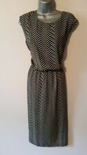 BNWT New NEXT Black & White Monochrome Chevron Print Wrap Back Dress size 12