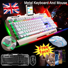 LED Keyboard Mouse Set PC Laptop Gaming Wired USB For PS4 Xbox One 360 Window UK
