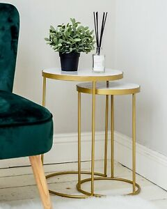Marble Topped Nest of 2 Side Tables with Gold Legs Living Room Art Deco Solid