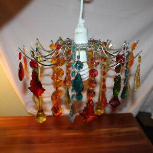 """Small 12"""" Diameter Rainbow Multi Color Prism Mini Chandelier with long cord"""