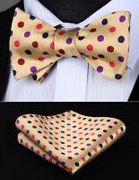 BD705E8S Polka Dot Beige Brown Bowtie Men Silk Self Bow Tie handkerchief set