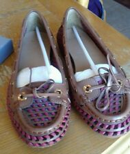 Women's Aerin Leather Weaved Luggage (Brown)/Raspberry (Red) Flats 7.5 M BNWT!