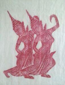 Vintage Thai Buddhist Temple rubbing gouache Dancers