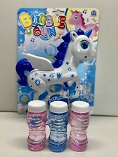 LIGHT UP PONY BUBBLE GUN WITH SOUND endless toy bubbles maker machine Unicorn