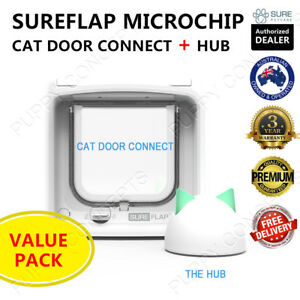 SureFlap Microchip Cat Door Connect & Hub Value Pack Keep Out Wifi App Dual Scan