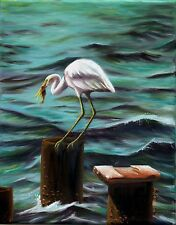 Original Oil Painting of Snowy Egret - Lunch, 8x10in, Framed, Signed
