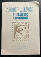Estonian And Latvian Philatelic Exposition Souvenir Sheet Hanau 1947