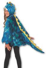 Blue Dragon Hooded Cape Velvet Child Fantasy Halloween Costume Accessory