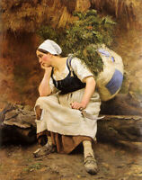 Dream-art oil painting Emile Renard le repos Hardworking women farmers in field