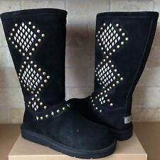 UGG Australia Avondale Studs Black Suede Sheepskin Tall Zip Boots US 8 Womens