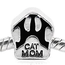 Cat Mom Paw Bead Spacer for Snake Chain Charm Bracelet