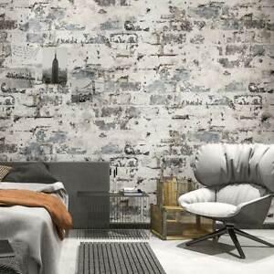 3D Rustic Bluish Grey Brick Wallpaper Textured Washed Stone Grey Wallpaper 10M