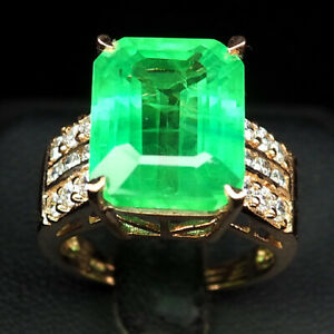 EMERALD GREEN OCTAGON 15.10 CT. SAPPHIRE 925 STERLING SILVER ROSE GOLD RING SZ 7