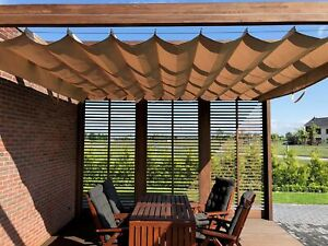 TAILOR MADE, CUSTOM MADE, HORIZONTAL ROMAN BLIND, ROLLED, EXTENDED, SUN SAIL,