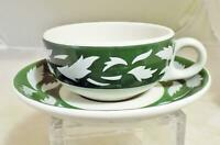 Vintage Jackson China Cup and Saucer Restaurant Ware Green Leaf Pattern