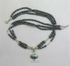 Sterling Silver Necklace, Triple Strand Mabe Pearl Design, New
