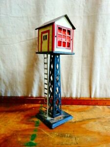 """Vintage Marx Mar Lines Lighted Switch Gear Control Tower Shed 9"""" Tall"""