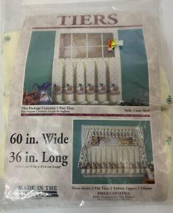 Vintage Aberdeen Curio Shelf Curtains 1 Pair Tiers White Goose Print Green New
