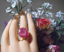 Handmade real Agate/Geode pink freeform stone ring