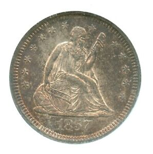 1857-O Liberty Seated Quarter, NGC MS61