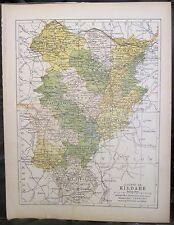 Irish Map County KILDARE Ireland Mtns Celbridge Naas Colored PW Joyce 1905 7x9.5