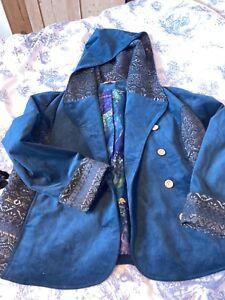 Joe Browns Teal Green Corduroy Coat Size 18. Hooded