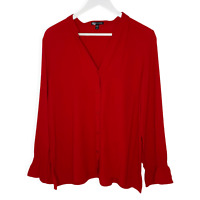 Eileen Fisher Red Mandarin Collar Silk Shirt Med Ruffle L/S Popover Blouse Top