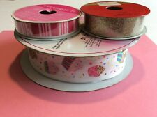 Cupcake Wire Edged Ribbon 1.5� + Sparkle Ribbon 5/8� 7/8� Crafting Hairbow