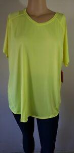 NWT Womens Tek Gear Workout Top Shirt S/S Firefly Neon Yellow Knit Polyester