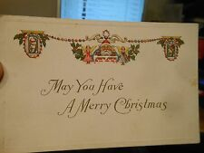 Vintage Old Antique Victorian Era Postcard MERRY CHRISTMAS Lights Santa Angels