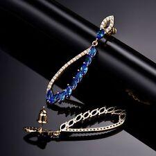 18K ORO GIALLO DIAMANTE E ZAFFIRO CRISTALLO BLU GOCCIA Dangle Earrings 227