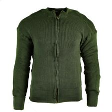 Genuine Swedish army pullover Jumper OD green wool sweater full zip cardigan NEW