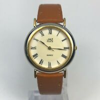 Vintage Jaz Unisex Paris W8 4M29 Quartz Analog Wristwatch Brown Leather Strap