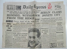 Orig WW2 newspaper Daily Express July 18, 1942 Rommel withdraws from the Ridge