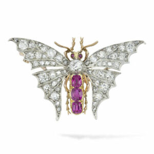 A Late Victorian Burmese Ruby,Diamond 14K Yellow Gold Over Butterfly Brooch Pin