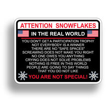 Attention Snowflake Car Truck Bumper Sticker Political Window Decal Trump POTUS