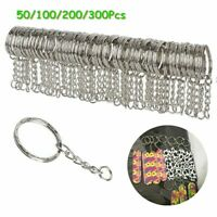 50/300pc Keyring Blanks Silver Tone Key Chains Findings Split Rings 4 Link Chain