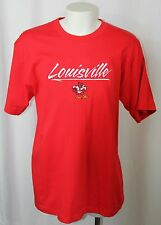 Vintage University of Louisville Embroider with Cardinal Logo Red T Shirt Men XL