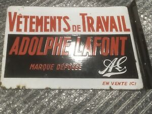 Beautiful Enamel Doublesided French Work Clothes Sign Vetements De Travail