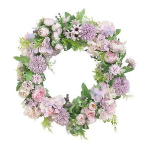Artificial Peony Wreath Garland Hanging Ornament Flower Door Wall Decor Purple