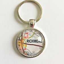 CHAMBERLAYNE RICHMOND VIRGINIA USA Map Key Ring Keychain Silver vntg ATLAS