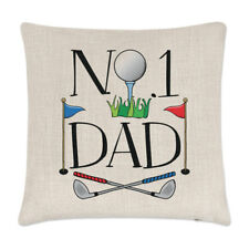 No.1 Dad Golf Linen Cushion Cover Pillow - Funny Father's Day Gift Present Sport