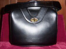 Genuine Black Leather Baguette handbag with change purse mirror Vintage 1940s