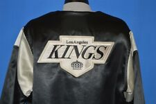 vintage 80s LOS ANGELES KINGS LA BLACK SILVER SATIN SNAP UP CHALK LINE JACKET L