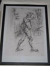 Figure drawing nude expressive, charcoal / paper, male man standing 2, A2 size @