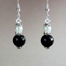Vintage black and white pearls silver wedding bridal bridesmaid drop earrings