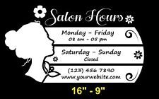 Beauty Nails Spa Salon Custom Store Business Hours Decal Sticker 16 9
